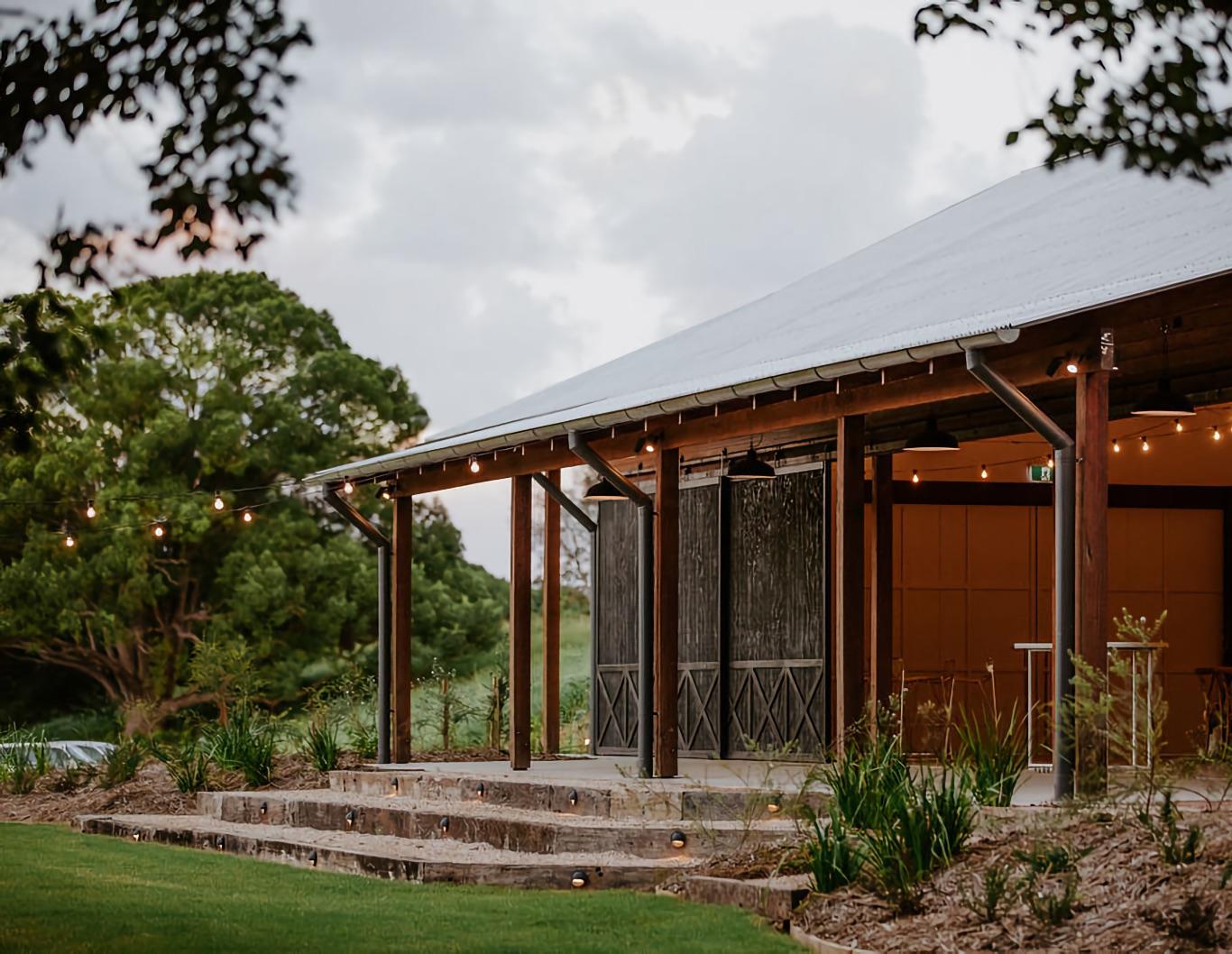Exterior of timber barn.